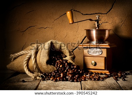 Coffee and mill - stock photo