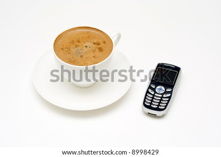 Coffee and mobile phone.