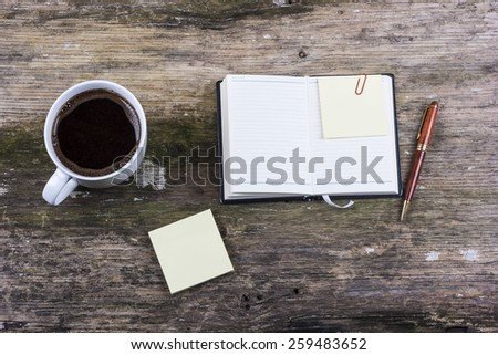 Coffee and notes - stock photo