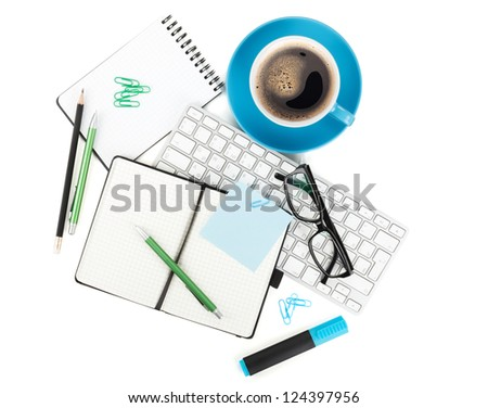 Coffee and office supplies. View from above. Isolated on white background - stock photo