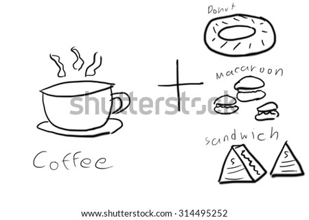 Coffee and Pastry Set Hand Draw Doodle, black line on white background - stock photo