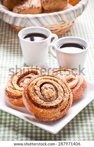 Coffee and sweet rolls - stock photo