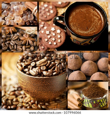 Coffee and sweets. Collage. - stock photo