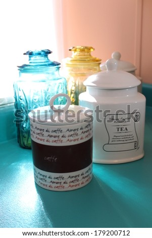 Coffee and tea canisters - stock photo