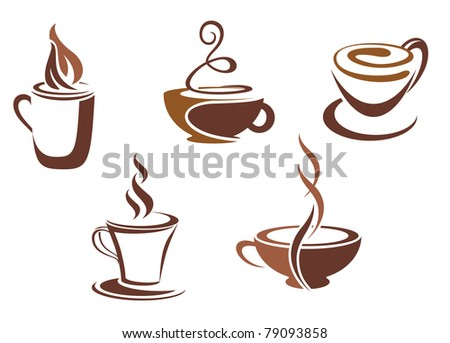 Coffee and tea symbols and icons for food design. Vector version also available in gallery - stock photo