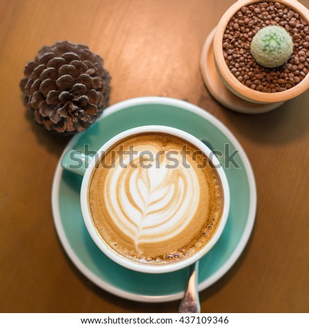 coffee and wood table background - stock photo