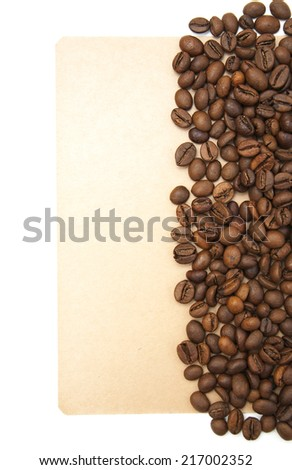 Coffee background - Coffee beans on old paper - stock photo