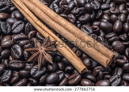 coffee bean background with seasoning