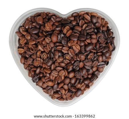 coffee bean in heart shape bowl - stock photo