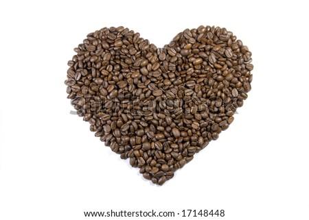 Coffee bean texture heart on white background - stock photo