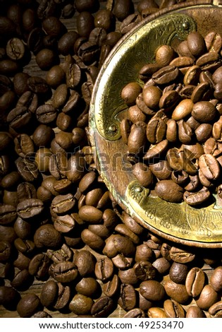 coffee beans and antique plate