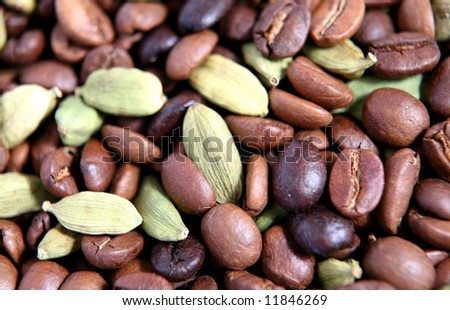 Coffee beans and cardamon pods. Cardamon is used for giving Arabian coffee its distinctive flavour.