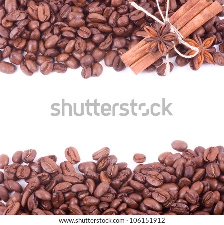 Coffee beans  and cinnamon on a white background - stock photo