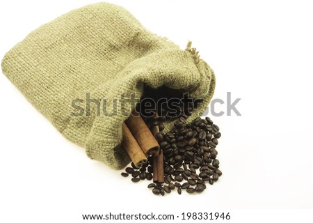 Coffee beans and cinnamon sticks on white background - stock photo