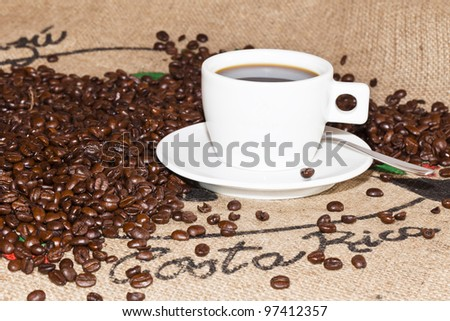Coffee beans and Coffee - stock photo