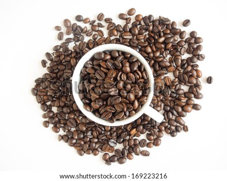 coffee beans and cup of coffee - stock photo