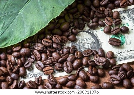 Coffee Beans and 1 dollar on Wood Background - stock photo