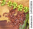 Coffee beans and green seeds with fresh leaves on canvas background - stock photo