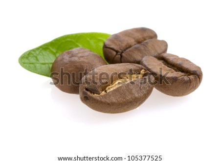 coffee beans and leaf isolated on white background