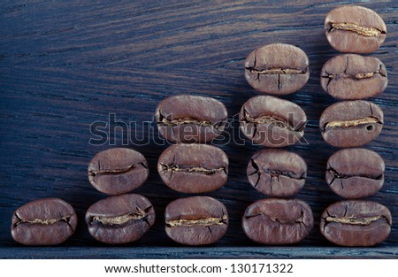 Coffee beans are in a wooden box - stock photo