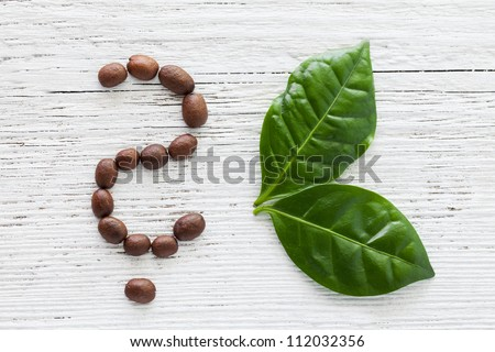 coffee beans as question mark and leaves