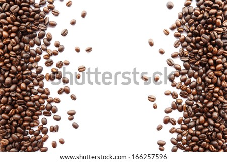 coffee beans at border of image(left and right) with blank area for fill text - stock photo