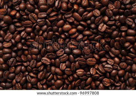 Coffee beans, background texture, close-up - stock photo