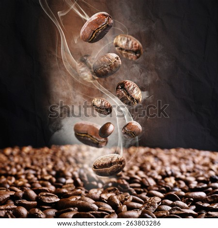 Coffee beans close up - stock photo