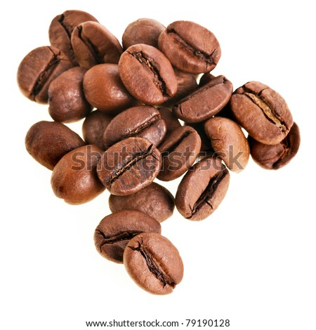 coffee beans close up isolated on white background - stock photo