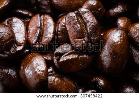 Coffee beans close-up, macro - stock photo