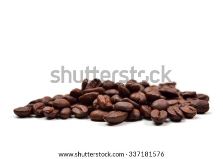 Coffee beans.coffee Isolated, coffee on white background,macro coffee, close up coffee, coffee bean, coffee background, coffee seed, coffee space, coffee black, coffee closeup, coffee beverage - stock photo
