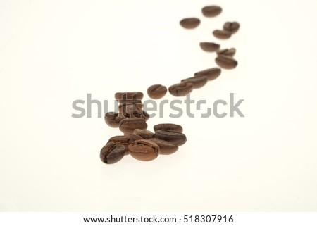 Coffee Beans draw a zigzag line isolated on white background