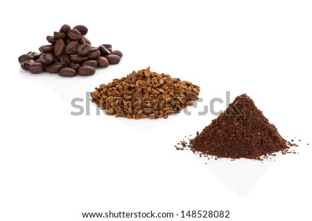 Coffee beans, ground coffee and instant soluble coffee heaps isolated on white background.  - stock photo