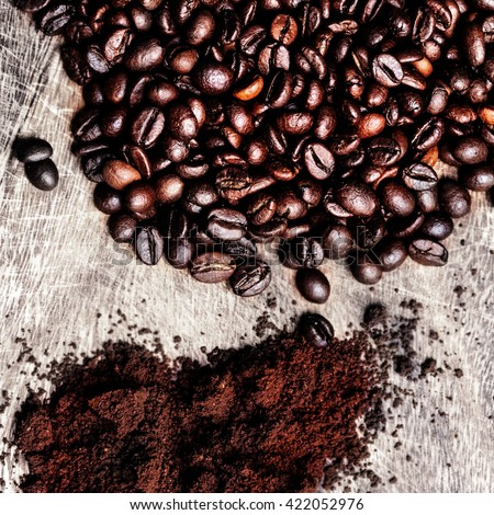 Coffee Beans/ Ground  Coffee as  textured background