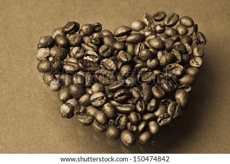 Coffee beans heart  - stock photo
