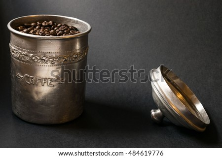 Coffee beans in a dark background
