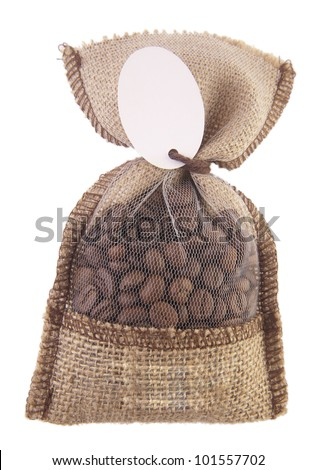 coffee beans in a linen bag - stock photo