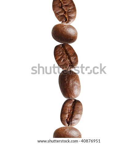 Coffee beans in a stack - stock photo