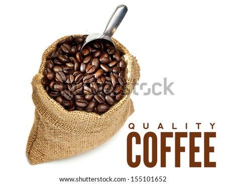 Coffee beans in bag with copy space - stock photo