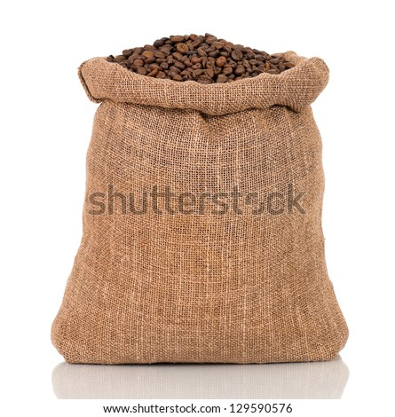 Coffee beans in burlap sack, isolated on white background - stock photo