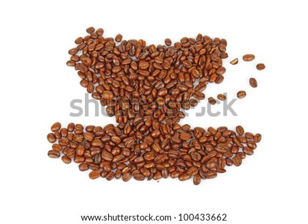 coffee beans in form of cup on white background, fragrant roasted grains, food photo