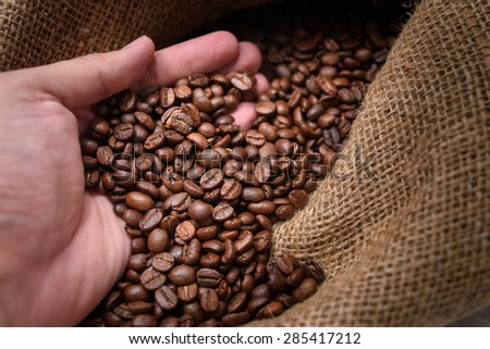 Coffee beans in hands - stock photo