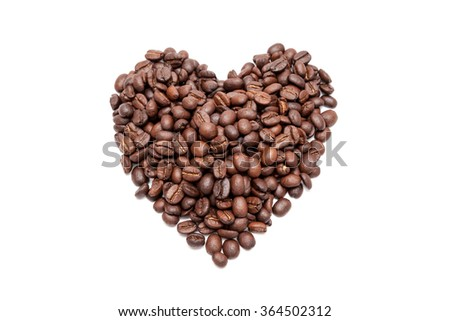 Coffee beans in heart shape white background isolated - stock photo