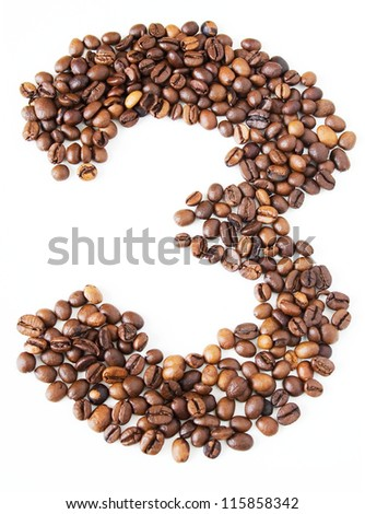 Coffee beans in shape numeral on the isolated white background. Figure three - stock photo