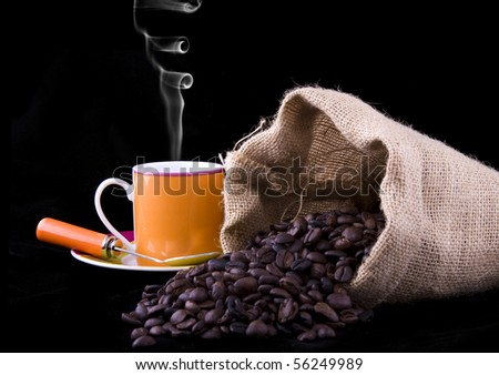 Coffee beans in the bag - stock photo