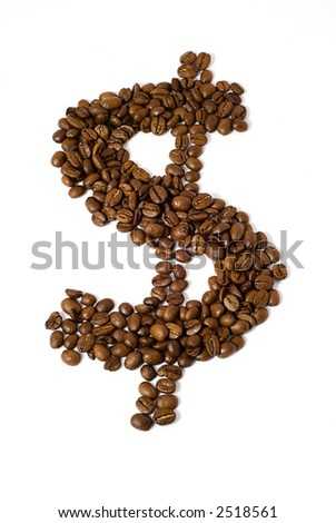 Coffee beans in the shape of a dollar sign isolated on white background with clipping path - stock photo