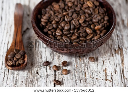Coffee beans in the wooden plate