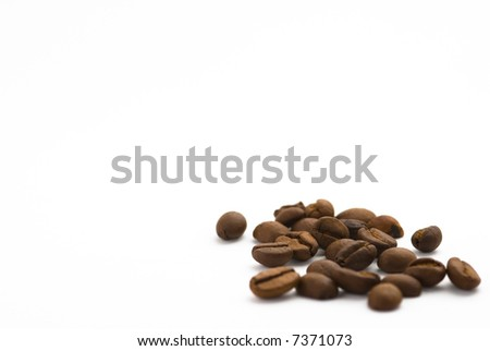 Coffee beans in white background - stock photo