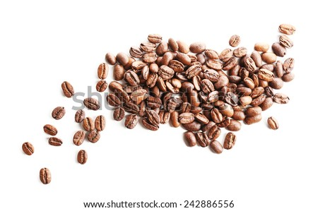 Coffee beans, isolated on white - stock photo