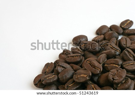 Coffee beans isolated on white background - clipping path included - stock photo
